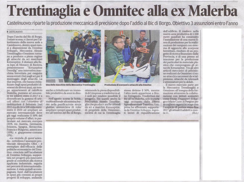 Kreuzspitze sul quotidiano Trentino di sabato 4 Febbraio 2017