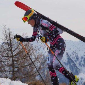 Bianca Balzarini con attacchini Kreuzspitze SCTTT Titanium